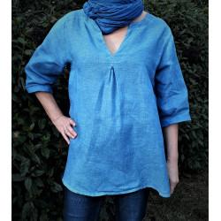 Haut Femme teint au bleu de Pastel