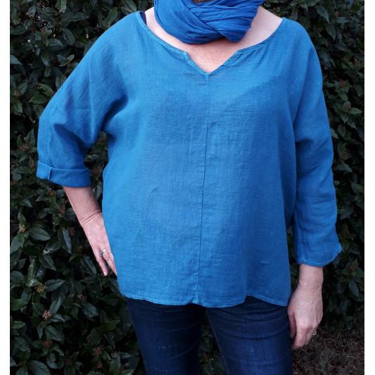 Haut Femme teint au bleu de Pastel coton/lin